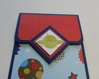 Space Themed Giftcard Holder in Blue
