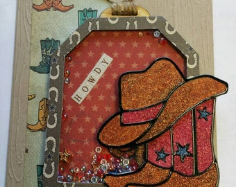 Glitter Cowboy Hat and Cowboy Boots Shaker Card