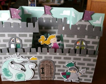 Dragon and Castle 3-D Birthday Card