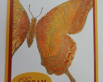 Gold and Orange Butterfly Dream Card