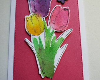 Watercolor Tulips Hello Card