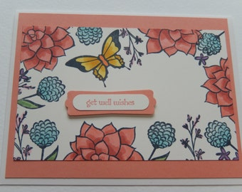Coral Get Well Card with Flowers and Butterfly