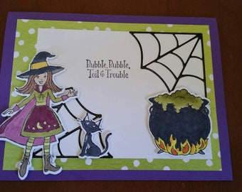 Bubble, Bubble, Toil and Trouble Halloween Card