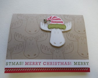 Santa Hat Reindeer Christmas Card