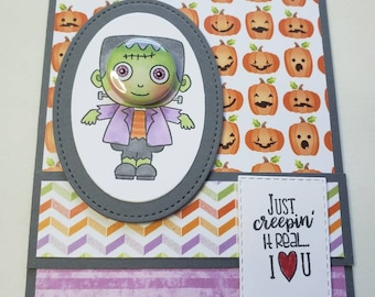 Frankenstein Tin Pin Halloween Card