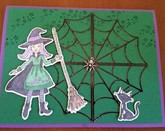 Witch and Spider Web Halloween Card
