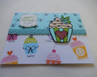 Blue and Green Glitter Cupcake Birthday Card