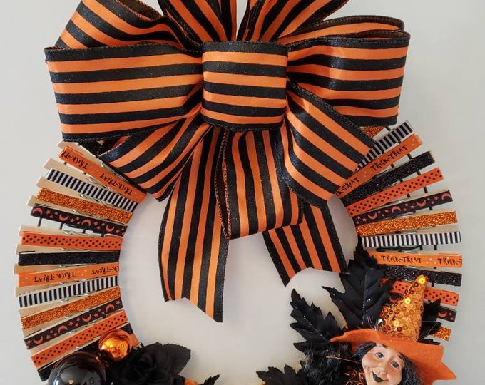 Featured listing image: Orange and Black Halloween Clothes Pin Wreath