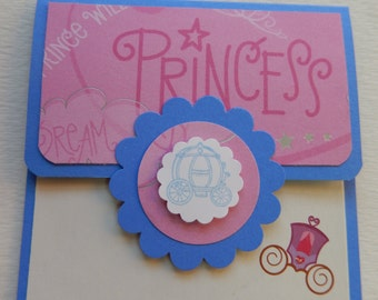 Princess Themed Giftcard Holder in Blue