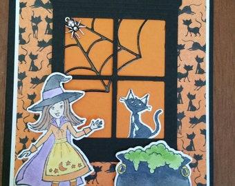 Black Cat in Window Halloween  Card