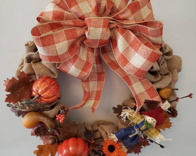Featured listing image: Solid Color Burlap Fall Wreath