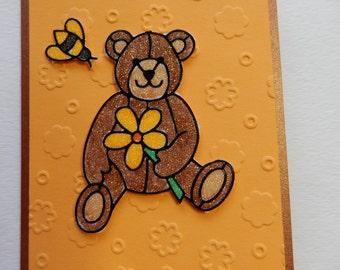 Glitter Bear Get Well Card