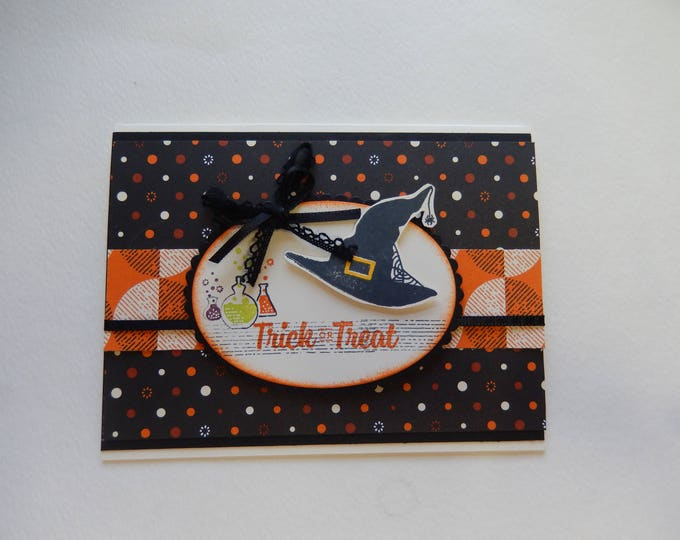 Featured listing image: Witch's Hat Trick or Treat Halloween Card