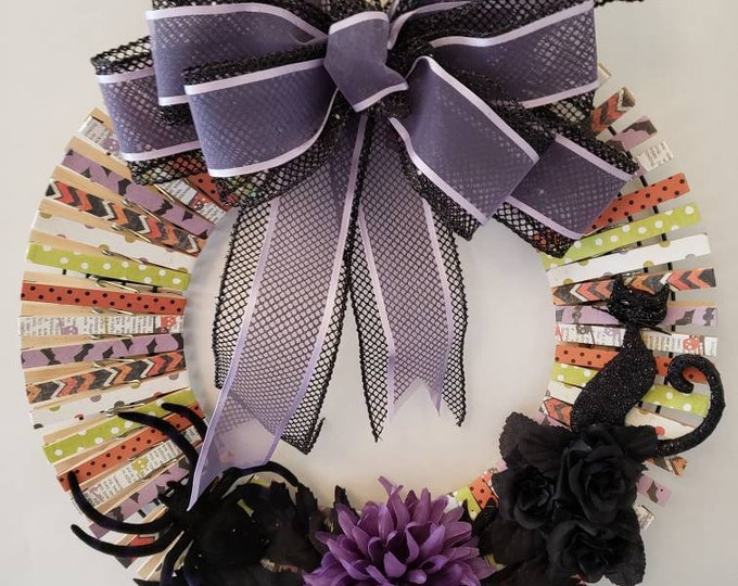 Featured listing image: Purple and Black clothes Pin Halloween Wreath