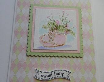 Pink Baby Bootie Card