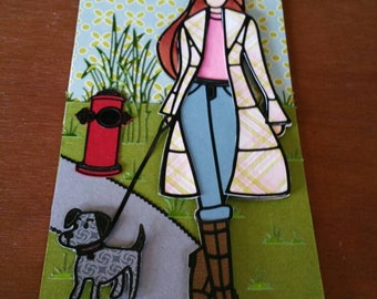 Girl Walking Dog Chipboard Tag