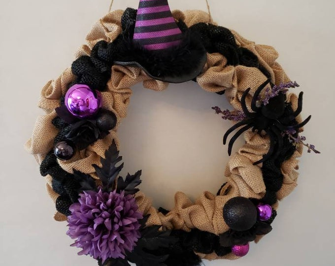 Featured listing image: Purple and Black Witch Burlap Halloween Wreath