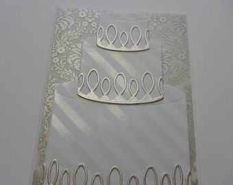White and Silver Wedding Cake Card