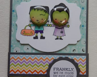 Mr and Mrs Frankenstein Halloween Card
