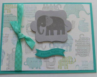 Baby Boy Elephant Card