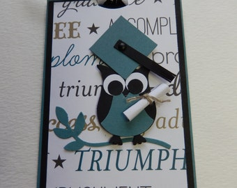 Black and Teal Owl Graduation Giftcard Holder