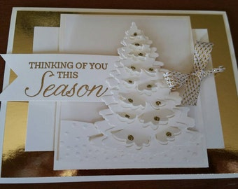 Cream Tree and Gold Christmas Card