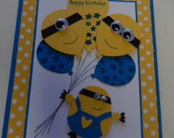 Balloon Bouquet Minion Birthday Card