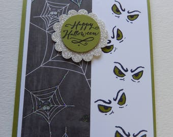 Green Eyes Halloween Card