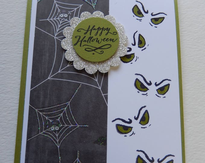 Featured listing image: Green Eyes Halloween Card