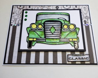 Classic Green Glitter Car Card