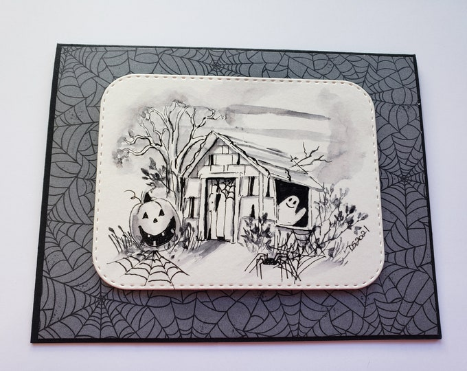 Featured listing image: Monochromatic Halloween Watercolor Card