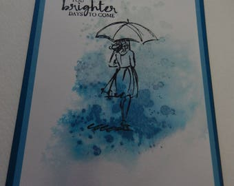 Watercolor Umbrella Girl