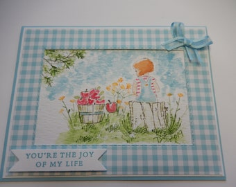 Watercolor Little Girl Card
