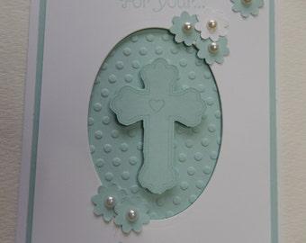 Blue Cross Baptism Card