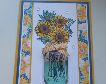 Jar of Sunflowers Thank You Card