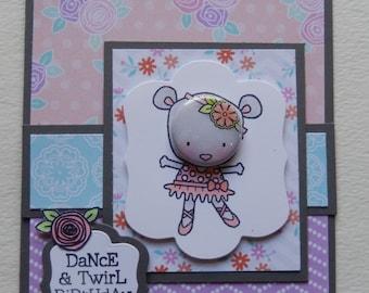 Ballerina Mouse Birthday Card