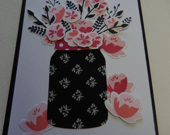 Pink and Black Jar of Flowers Mother's Day Card