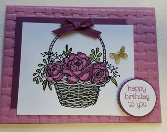 Basket of Flowers Birthday Card