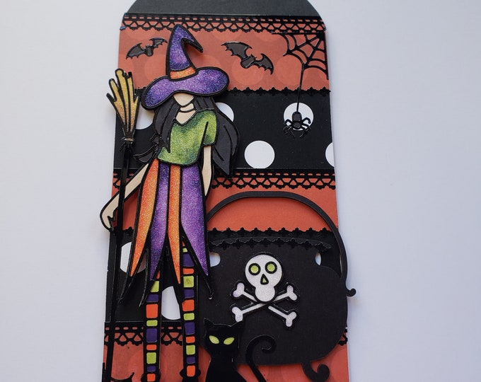 Featured listing image: Witch and Cauldron Chipboard Tag