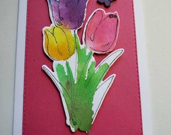 Watercolor Tulips Hello Card
