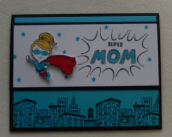 Turquoise Super Mom Card