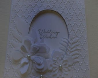Tone-on-Tone White Floral Wedding Card