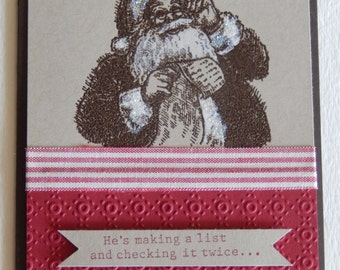 Santa Making a List Christmas Card