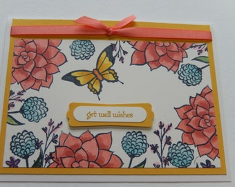 Get Well Card with Flowers and Butterfly