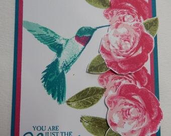 Hummingbird and Rose Card