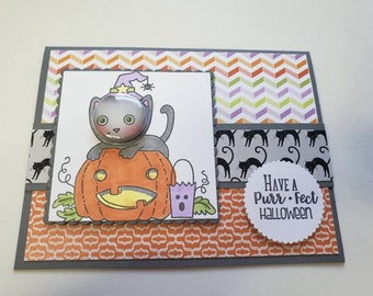 Black Cat and Pumpkin Tin Pin Halloween Card