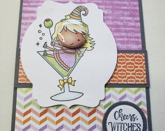 Martini Glass Witch Halloween Card