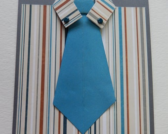 Striped Shirt with Blue Tie Father's Day Card