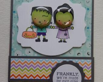 Mr and Mrs Frankenstein Halloween Card