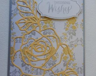 Yellow Rose Wedding Card